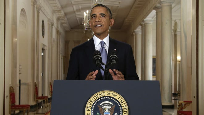 President Obama addresses the nation in a live televised speech from the East Room of the White House on Tuesday night.