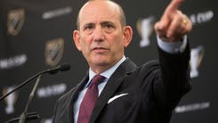 FILE - This Dec. 9, 2016 file photo shows MLS Commissioner Don Garber holding a state of the league news conference in Toronto. St. Louis and San Diego are among bidders from 12 areas applying for four Major League Soccer expansion teams. Two of the teams, which have $150 million expansion fees, will start play in 2020. Garber said Tuesday, Jan. 31, 2017 that having stadium financing in place is a condition for selection. (Chris Young/The Canadian Press via AP)