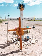A memorial for Baldomero P. Barajas. Baldomero, 60, died in March 2013 after he failed to stop for an oncoming Union Pacific train while he drove across the railroad tracks at Taylor Ranch Road.
