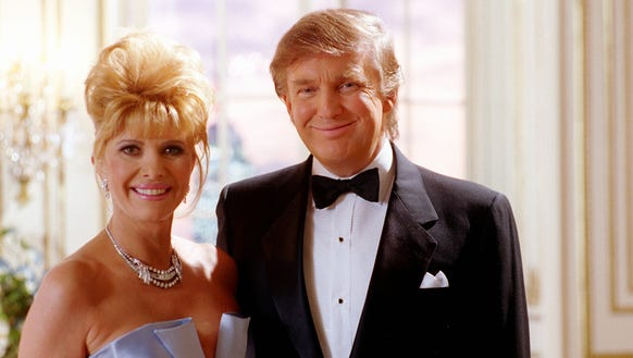 Ivana and Donald Trump filming a Pizza Hut ad in 1995.