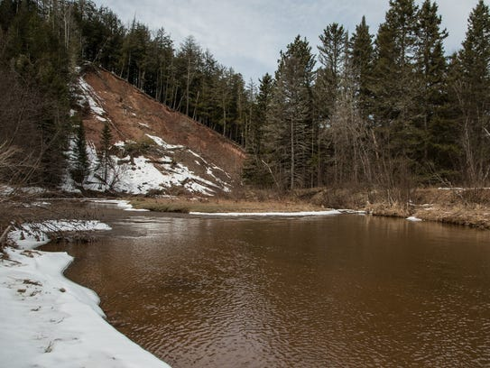 The western branch of the Ontonagon River is seen on