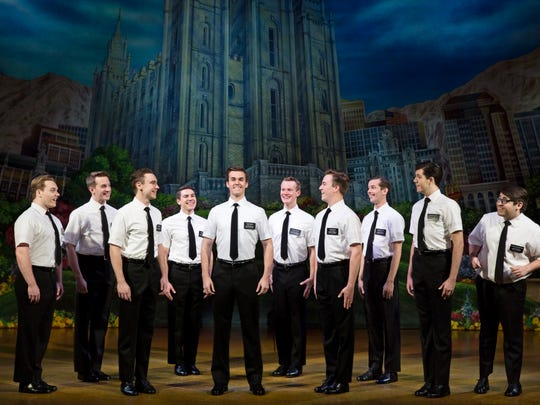 "In this scene from ""The Book of Mormon,"" young church members prepare to set off on missions that will take them to the far reaches of the world. The show plays July 31-Aug. 5 at the Aronoff Center as part of the Broadway in Cincinnati series."