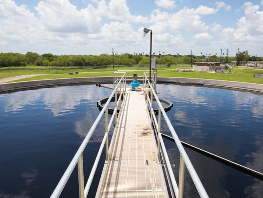 Primary clarifiers hold wastewater at the Greenwood