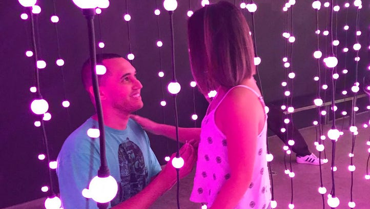 "Chris Koehne proposes to Tracie Agustin inside ""Ocean"