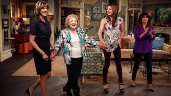 """Wendie Malick, left, Betty White, Jane Leeves and Valerie Bertinelli on the set of the TV Land series """"Hot in Cleveland"""" during taping of the sixth season of the series."""