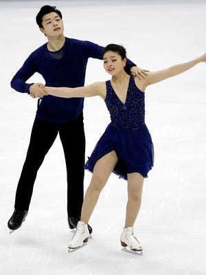 Maia Shibutani and Alex Shibutani compete in the free dance routine during the 2017 U.S. Figure Skating Championships at the Sprint Center on Saturday.