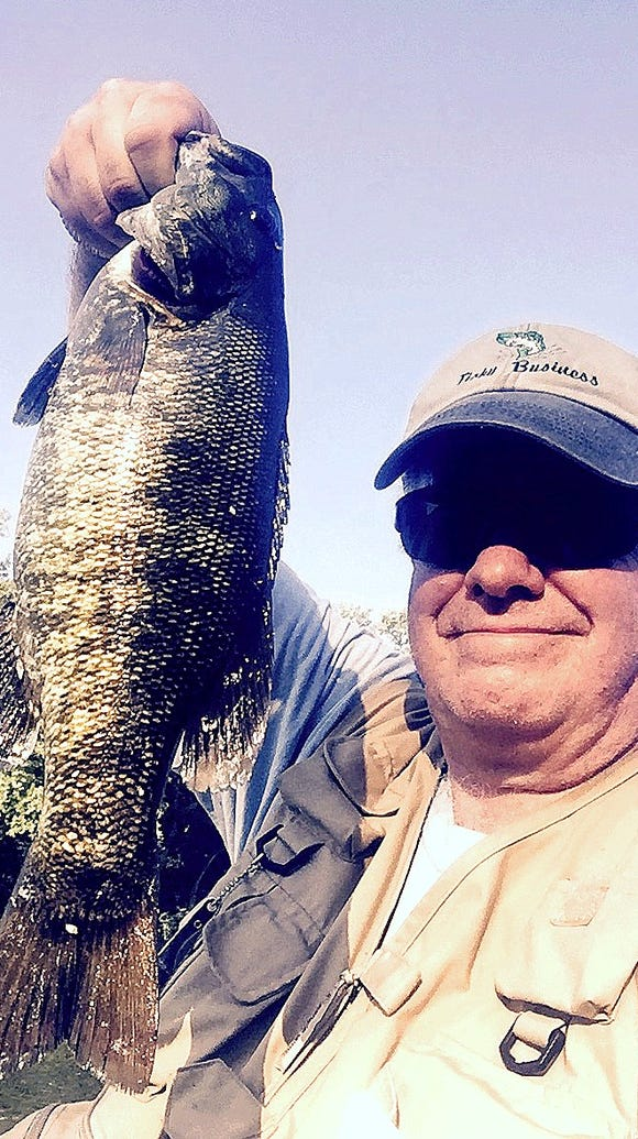 I hooked this chunky smallmouth bass Wednesday in the