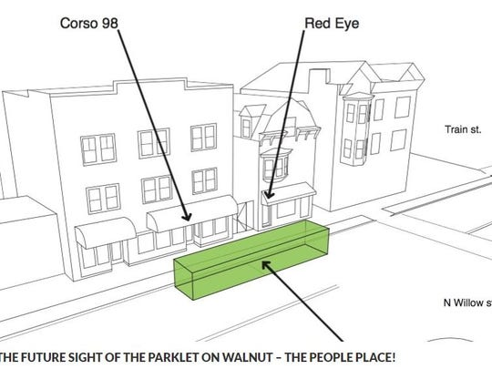 A sketch details the location of a coming miniature park to be placed on Walnut Street in Montclair from July through October 2018.