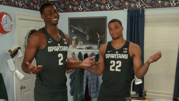 "Michigan State draft hopefuls Jaren Jackson Jr., left, and Miles Bridges participated in a funny ""Tonight Show"" bit."