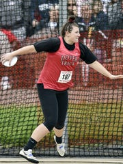 Dover's Emily Eckard competes in the Class 3A discus