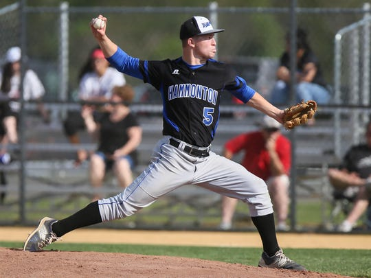 Hammonton's Gianni D'Antonio pitches during a 1-0 loss to Williamstown on April 25.