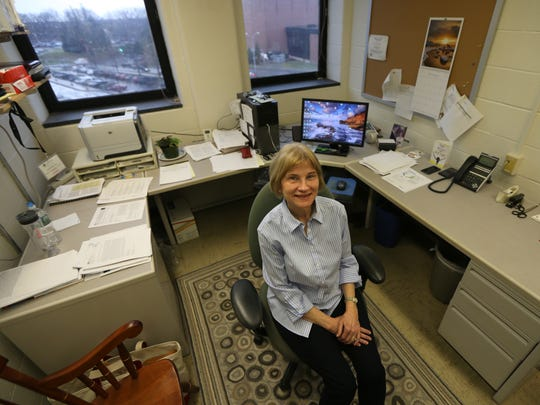 Jean Bidlack at work in her office at the University