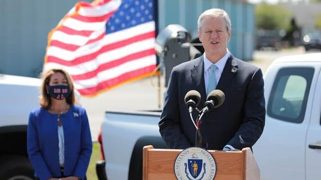 Gov. Charlie Baker and state health officials were in Plymouth on Tuesday to highlight steps the Commonwealth is taking to prepare for Eastern Equine Encephalitis this year. At left is Lt. Gov. Karyn Polito.