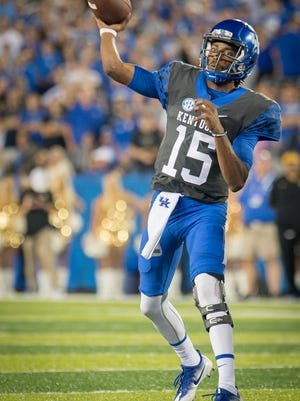 Kentucky Wildcats quarterback Stephen Johnson (15), a former COD star, drops back to pass during the game against Missouri in Lexington, Saturday, Oct. 7, 2017.