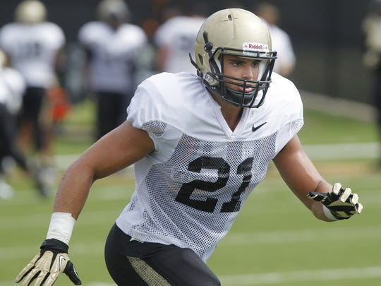 Linebacker Markus Bailey during Purdue football practice Aug. 11, 2015, in West Lafayette.