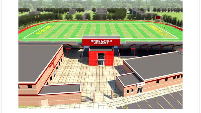 The architect's rendering of the new look for Bergen Catholic's main athletic field.