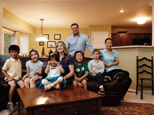 The Knipper family, at home in Independence; from left Caleb, 11; Grace, 12; Gabrielle, 6; Stephanie; Jonathan, 9; Zachary, 13; Sarah, 19, and, standing, Stephen.