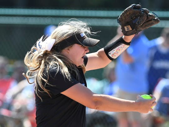 Christian Academy of Knoxville's Allison Zimmerman (3) winds up for a pitch during  the 2017 Class AA State Girls' Softball Championship against McNairy Central, Friday, May 26, 2017. CAK defeated McNairy County in two games, 2-1, 2-1.