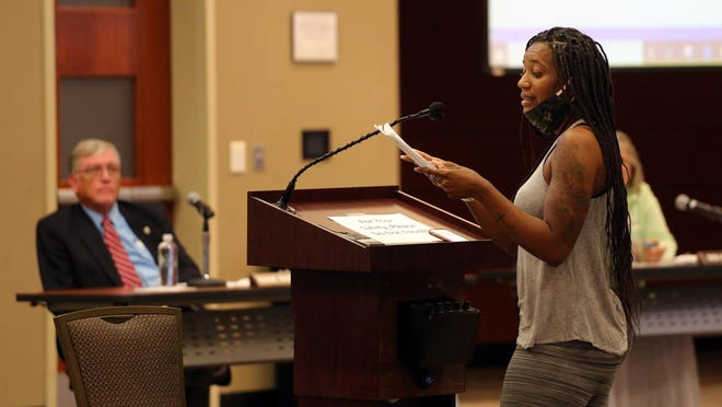 Alexsis Vinson speaks about the Confederate monument on the courtsquare before Cleveland County Commissioners during a meeting on Tuesday.
