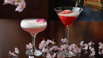 Also at Grand Hyatt Tokyo,  The Oak Door Bar will offer the Sakura cocktail with ROKU Japanese gin, sakura liqueur and lychee juice (left), and Sakura Champagne Sorbet (right).