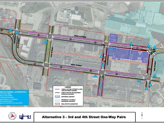 One of the two options being considered by the Wisconsin Department of Transportation for the planned reconstruction of State 32 on the west side of De Pere in 2022 is to turn Third and Fourth streets into a one-way traffic pair to connect with the split highway on Main Avenue and Reid Street downtown.