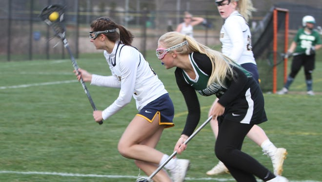 Elena Salazar (left) scored four goals and one assist for Hartland in a 17-11 lacrosse victory over Grosse Pointe South.