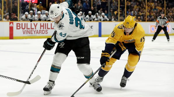 Nashville Predators right wing Craig Smith (15) takes the puck from San Jose Sharks right wing Barclay Goodrow (23) in the first period of an NHL hockey game Thursday, Feb. 22, 2018, in Nashville, Tenn. (AP Photo/Mark Humphrey)