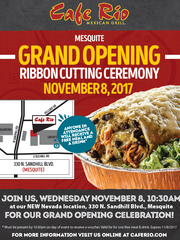 A flyer announcing Cafe Rio's Nov. 8 opening in Mesquite.