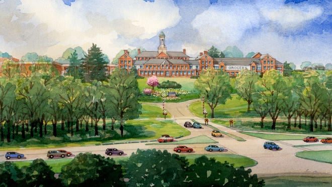 An artist's rendering of the Chappaqua Crossing development -- and the cupola building -- from 2013.