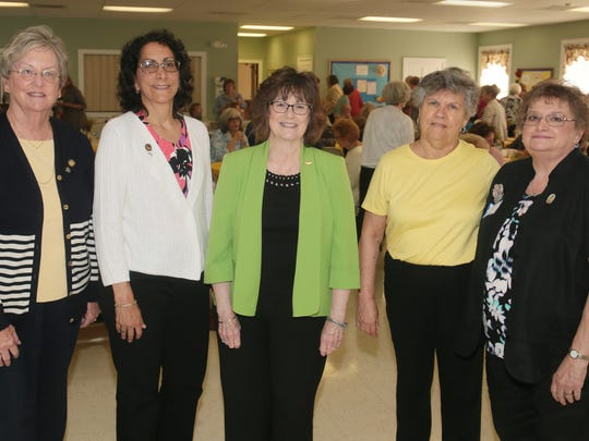 The Highlands District council of the New Jersey State Federation of Women's Clubs meeting included club members from Morristown, Parsippany, Rockaway, Denville, Madison, Mendham, Roxbury and Long Valley in Long Valley on June 7, 2016. From left, Sue Stenson, NJSFWC Fall Conference Chairwoman, Barbara Mccluskey, Highlands District Vice President, Susan Chambers,  NJSFWC Special State Project Chairwoman, Marie Bohn, President of Long Valley Women's Club, and Kathy Hunterton, Highlands District Special State Project Chairwoman.