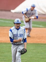 Relief pitcher Ricky Raisor reacts to the final out of Highlands' 5-2 win over McCracken County in the state baseball championships Tuesday, June 2.