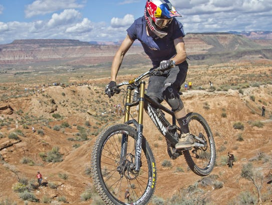 Athletes compete during the 2014 Red Bull Rampage in