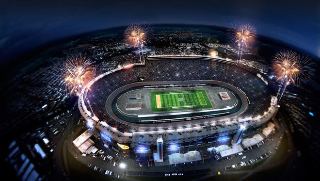 "A proposed rendering of Bristol Motor Speedway set-up for the ""Battle at Bristol"" college football game between Virginia Tech and Tennessee on September 10, 2016."