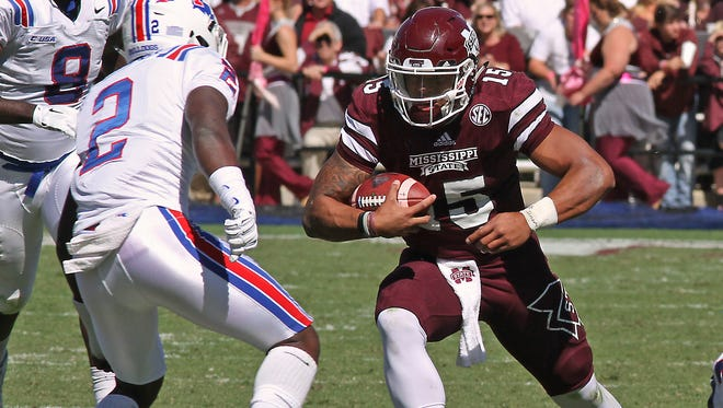 Mississippi State quarterback Dak Prescott (15) runs for yardage against Louisiana Tech on Oct. 17.