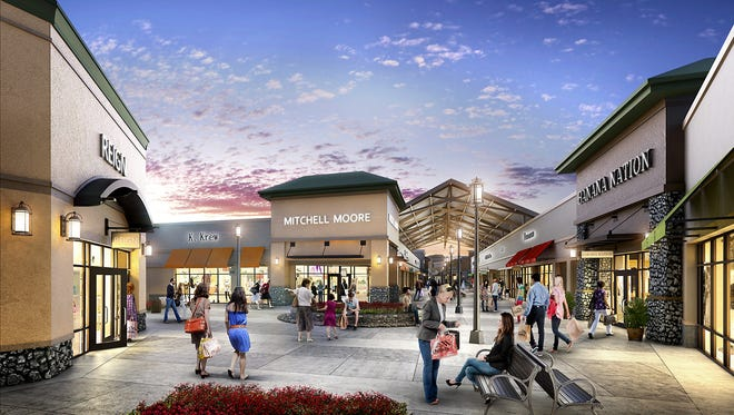 This rendering gives an idea of what Asheville Outlets might look like when it opens May 1. (New England Development)