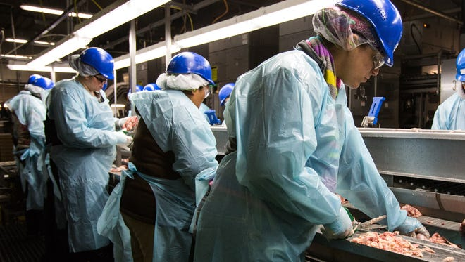 Workers trim fat from chicken leg meat at the Allen Harim processing plant in Harbeson. The company was cited for discharging pollution into the Beaver Dam Creek.