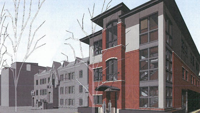 The original design of an office building at 215 Mathews St., rejected by the Landmark Preservation Commission but preferred by the Downtown Development Authority.