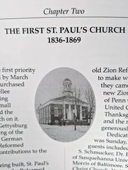 The first building of at St. Paul's Lutheran Church in York, that stood at the current location of the York City Police building.