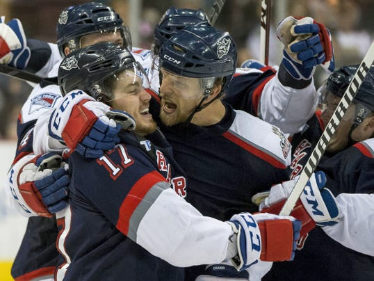 In this May 13 file photo, Hartford Wolf Pack celebrates Hartford's Chris Bourque goal as the Hershey Bears and Hartford Wolf Pack faced off in game five of the AHL Calder Cup Playoffs at the Giant Center. Hershey fell to the Hartford Wolf Pack 5-4 in overtime. On Friday night, Hershey's season came to an end as Hartford won, 6-3.