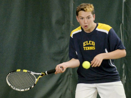 In this May 1, 2014 file photo, Elco's Dylan Spitler lines up a shot during his and Christian Stahl's number one doubles match against Camp Hill's Adam Malarich and Kyle Bentz. On Friday, Spitler's victory over Elk County Catholic's Austin Minard secured a trip to the PIAA semifinals against Wyomissing today at noon.