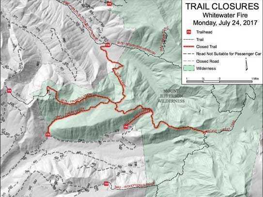 This map shows trails closed by the Whitewater Fire.