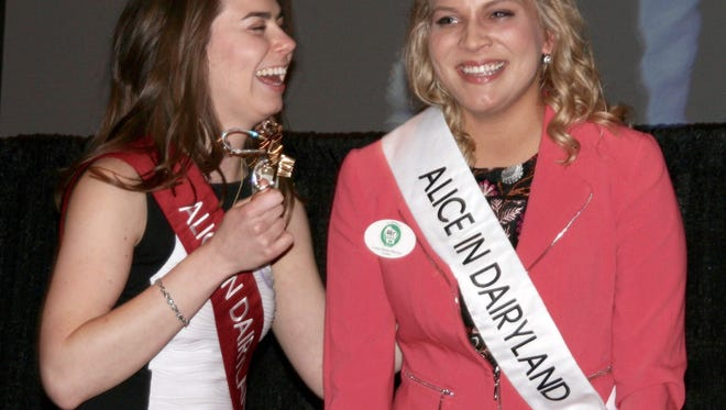Ann O'Leary, Wisconsin's 69th Alice in Dairyland, congratulates her successor Crystal Siemers-Peterman.