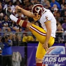 Aug 23, 2014; Baltimore, MD, USA; Washington Redskins punter Tress Way (5) kicks the ball against the Baltimore Ravens at M&T Bank Stadium. Mandatory Credit: Amber Searls-USA TODAY Sports