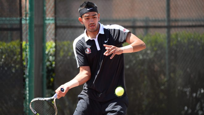 Jose Gracia won his singles match against Baylor in the first round of the NCAA Tournament.