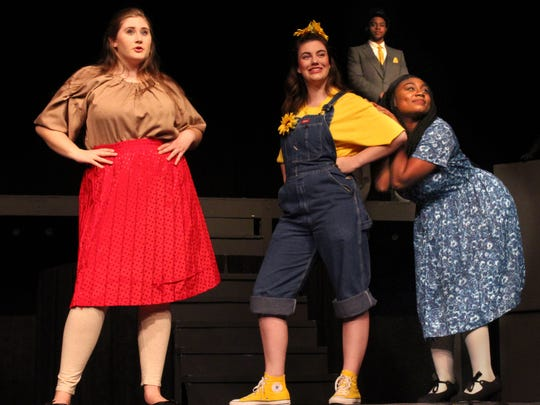 """From left: Three sisters, played by Hanna Hayes, Maddie Murgia and Titanya Hudson, go their separate ways, then reunite and share stories of their adventures in """"This Girl Laughs, This Girl Cries, This Girls Does Nothing,"""" which will be performed Friday-Sunday at Van Ellis Theatre on the Hardin-Simmons University campus."""