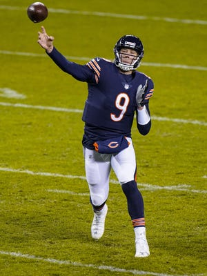 Chicago Bears quarterback Nick Foles (9) throws against the New Orleans Saints in the second half of Sunday's game in Chicago.