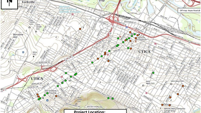 A map of pedestrian crossing improvements coming to City of Utica streets in 2021 as part of a state Department of Transportation program.