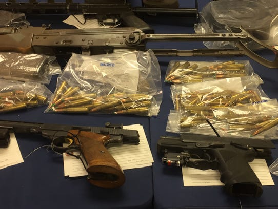 Weapons and ammunition seized by police in the arrest