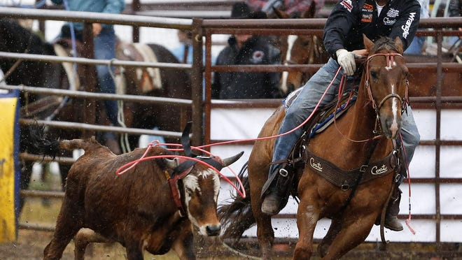 Dustin Bird of Cut Bank, here competing a few years ago in Belt, hopes to qualify for another Montana Pro Rodeo Circuit Finals this year. But he'll have a new role, as he plans to be the heeler in a team roping tandem with his brother, Shawn.