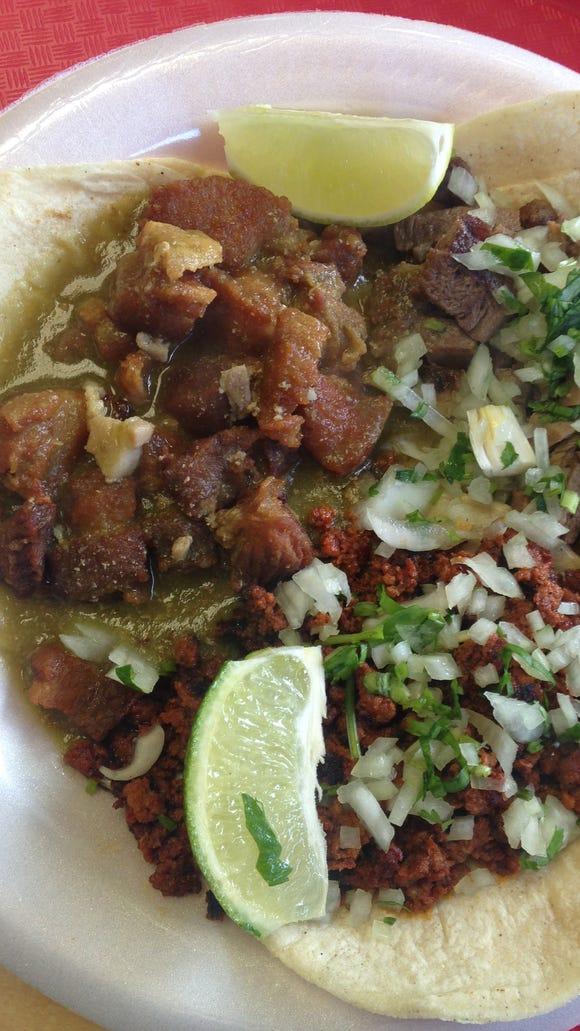The three tacos I tried at Giliberto's: the chicharones, chorizo and lengua.